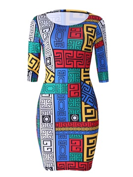 Above Knee Pullover Print Women's Bodycon Dress