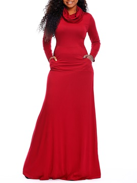 Floor-Length Heap Collar Plain Women's Long Sleeve Maxi Dress