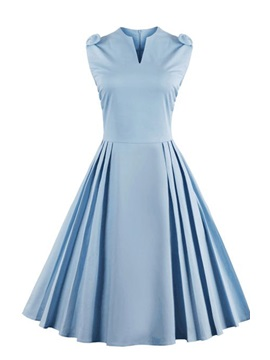Tidebuy Light Blue Ruffled Women's Vintage Dress