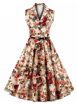 Tidebuy Knee-Length Sleevelss Skater Women's Floral Dress