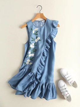 Tidebuy Embroidery Floral Sleevelss Women's Short Day Dress