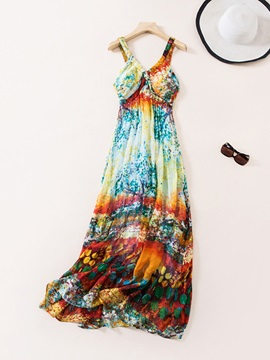 Tidebuy Pullover Beach Summer Print Women's Maxi Dress