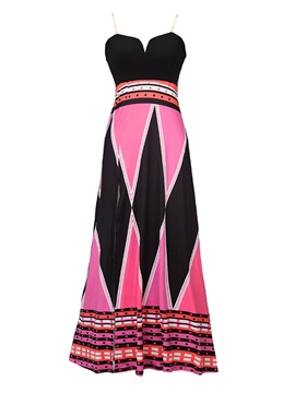 Tidebuy Slip Printing Pattern A-Line Women's Maxi Dress