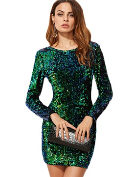 Tidebuy Above Knee Round Neck Sequins Women's Bodycon Dress