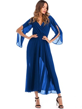 Tidebuy Ankle-Length V-neck Chiffon Women's Maxi Dress