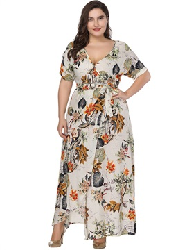 Plusee V-neck Floral Printing Women's Maxi Dress