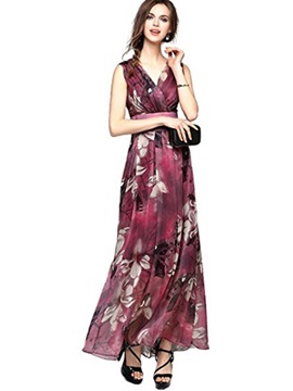 Tidebuy Floral V Neck Sleeveless Maxi Dress