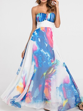 Tidebuy Print Double Hem Strapless Women's Maxi Dress