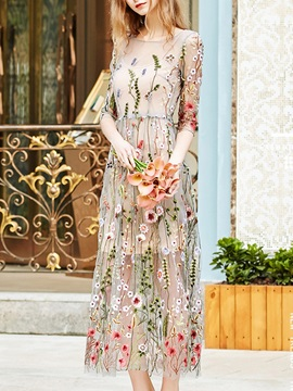 Tidebuy Embroidery Travel Look Floral Women's Maxi Dress