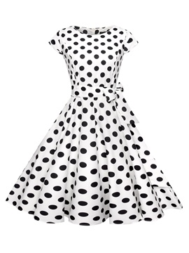 Tidebuy A-line Polka Dots Scoop Neck Short Sleeves Women's Dress