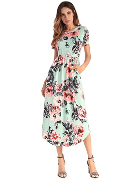 Tidebuy Floral Round Neck Short Sleeves Women's Dress