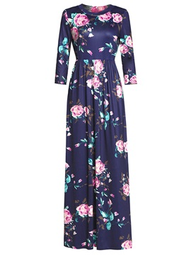 Tidebuy Print Round Neck Women's A-Line Dress
