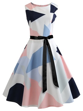 Tidebuy Geometric Round Neck Print Women's Skater Dress