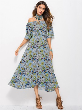Tidebuy Off-The-Shoulder Lace-Up Print Women's Maxi Dress