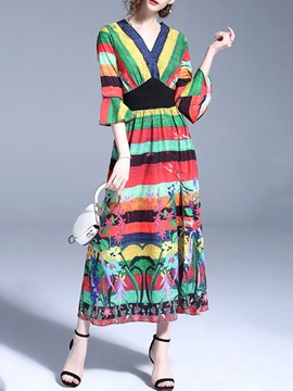 Tidebuy Multi Colors Print Half Volant Sleeves Maxi Dress