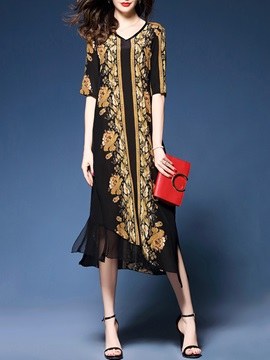 Tidebuy Print V Neck Half Sleeves Maxi Dress