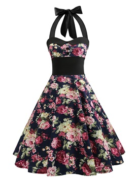 Tidebuy Floral Lace-up Skater Dress