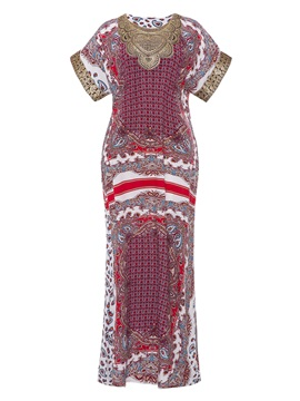 Tidebuy Pullover Polyester Print Women's Maxi Dress