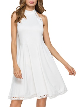 Tidebuy Mock Neck Sleeveless A-Line Dress