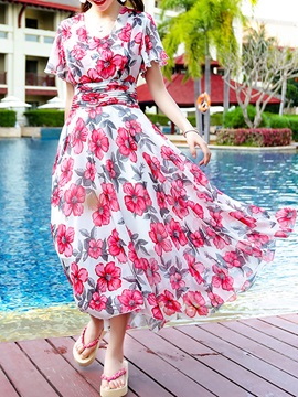 Tidebuy Multi Colors Print Cap Sleeves High Waist Long Maxi Dress