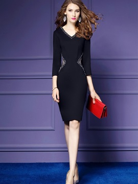 Tidebuy V-neck Pullover Fall Women's Bodycon Dress