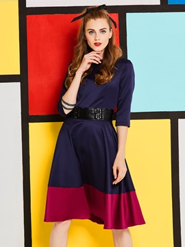 Tidebuy Color Block Patchwork Women's A-Line Dress