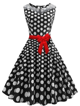 Tidebuy Polka Dots Round Neck Sleeveless Women's Dress