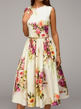 Tidebuy Floral Round Neck Sleeveless Women's A-line Dress