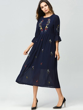 Tidebuy A-Line Three-Quarter Sleeves Embroidery Chiffon Maxi Dress