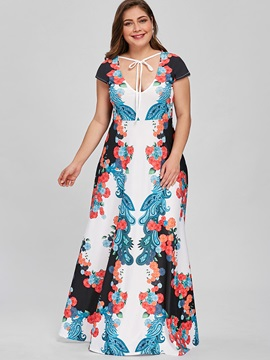 Tidebuy Plusee V Neck Print Floral Women's Maxi Dress