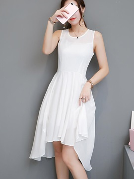 Tidebuy Asymmetric Round Neck Sleeveless Women's Dress