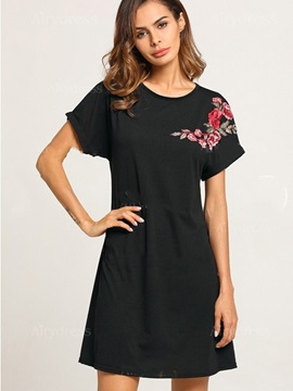 Tidebuy Floral Embroidery Short Sleeves A-Line Day Dress