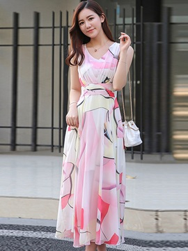 Tidebuy Ankle Length Pleated Sleeveless Floral Maxi Dress