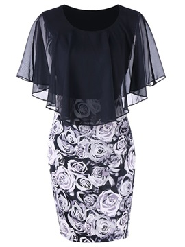 Tidebuy Batwing Sleeve Floral Women's Bodycon Dress