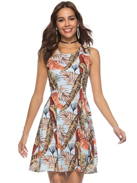 Tidebuy Sleeveless Print Pullover Women's A-Line Dress