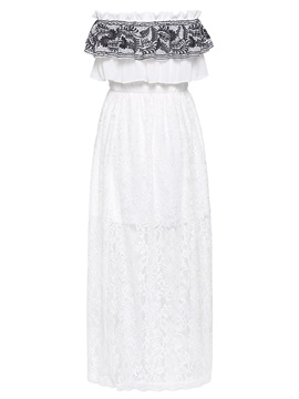 White Off Shoulder Lace Maxi Dress