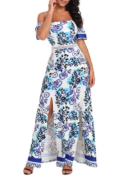 Tidebuy Patchwork Print Split Women's Maxi Dress