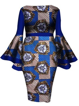 Tidebuy Geometric Print Pullover Women's Bodycon Dress