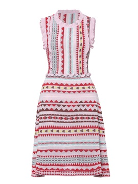 Falbala Ethnic Pattern Women's Day Dress
