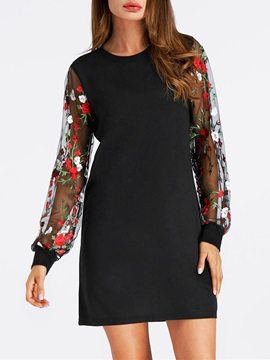 Tidebuy Above Knee Floral Women's Long Sleeve Dress