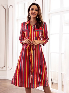 Long Sleeve Button Shirt Stripe Day Dress