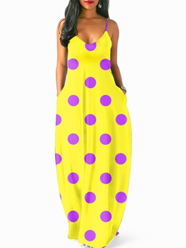 Tidebuy Polka Dots Beach Look V Neck Women's Maxi Dress