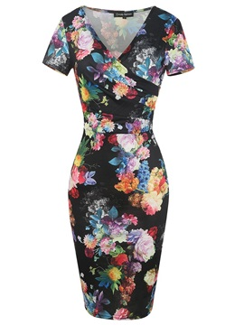 Tidebuy Elegant Pencil Floral Print Women's Bodycon Dress