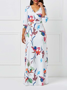 Tidebuy Milk Fiber Floral Plant V Neck Women's Maxi Dress