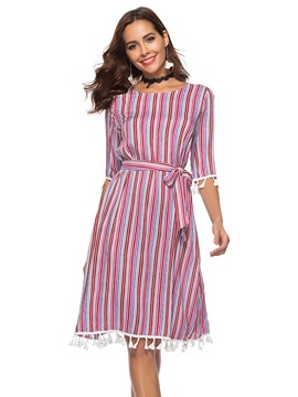 Tidebuy Elegant Belt Stripe Women's A-Line Dress