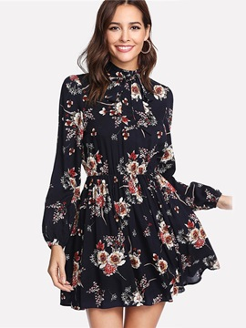 Long Sleeve Floral Women's A-Line Dress