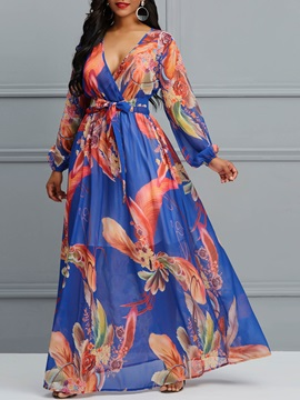 Print V-Neck Pullover Women's Maxi Dress