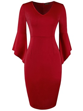 Office Lady Plain V Neck Fall Women's Bodycon Dress