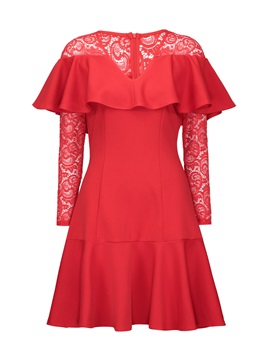Cap Shoulder Ruffle Lace Day Dress