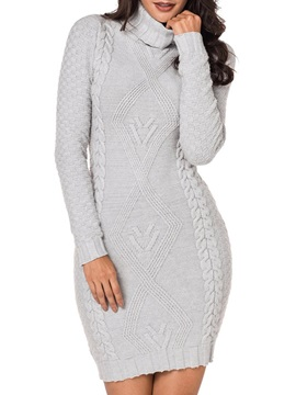 Elegant Turtleneck Women's Sweater Bodycon Dress